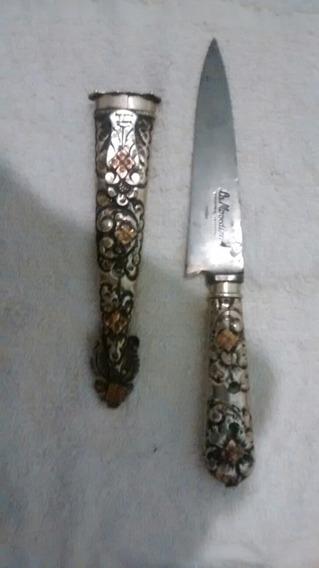 Cuchillo Antiguo Alpaca Y B/ Oro