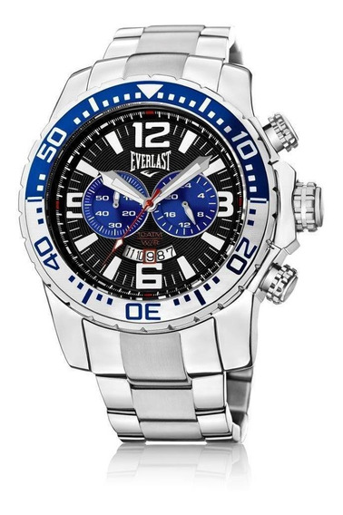 Relógio Pulso Everlast Masculino Cronografo Aço Prata E653