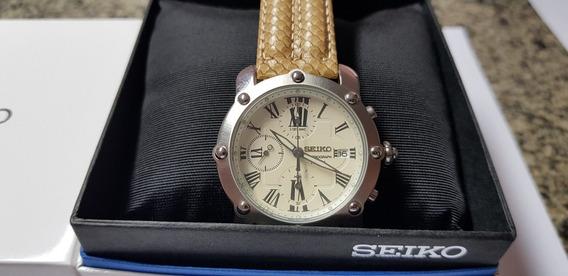 Relógio Seiko Masculino Chronograph Fundo Champanhe Claro