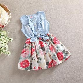 Vestido Infantil Jeans E Floral