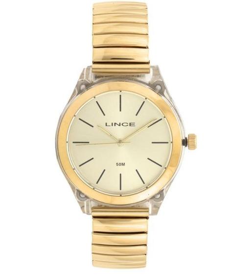 Relógio Feminino Lince Dourado Lrg4484 C1kx Clássico Social