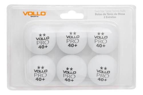 Kit 6 Bolas Bolinhas Vollo Ping Pong Tenis De Mesa Branco