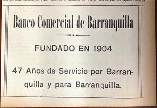 Banco Comercial De Barranquilla Antiguo Aviso De 1951
