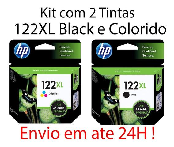 Kit 02 Cartuchos Hp 122xl Preto + 122xl Color Originais