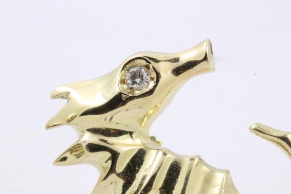 Brinco Ouro 18k Cavalo Marinho
