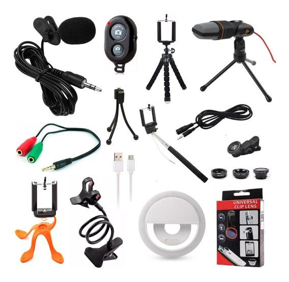 Kit Youtuber 12x1 Lapela Microfone Mesa Tripé Celular Bastão