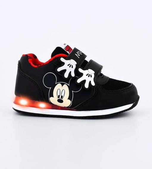 Zapatillas Footy Disney Mickey Manitos Negra Con Luces Fx202