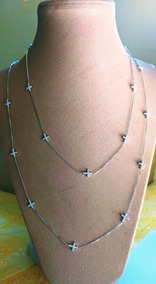 Colar Prata 925 Com Cruzes Em Zircônias Brilhantes.