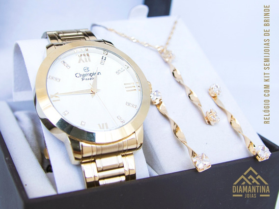 Relógio Feminino Dourado Champion Cn29169h Com Kit Semijoias