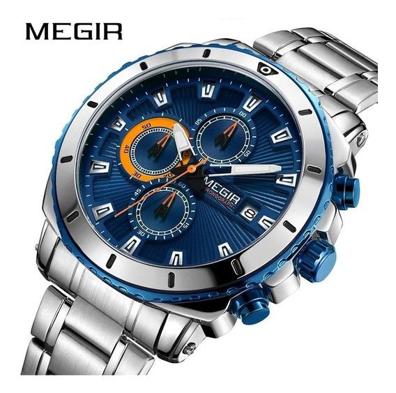 Relógio Megir 2075 Original 30 Metros Inoxidável Original