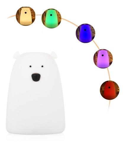 Lampara Oso Silicona Suave Led Cambia De Colores Ilumina