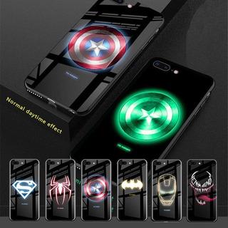 iPhone X/xs/6/6s Case Glass Funda Avengers Luminoso Marvel