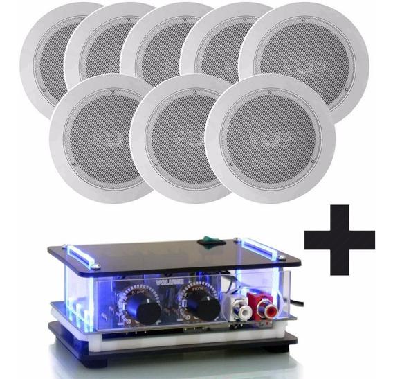 8 Caixa De Som Ambiente + Amplificador Escritório Academia