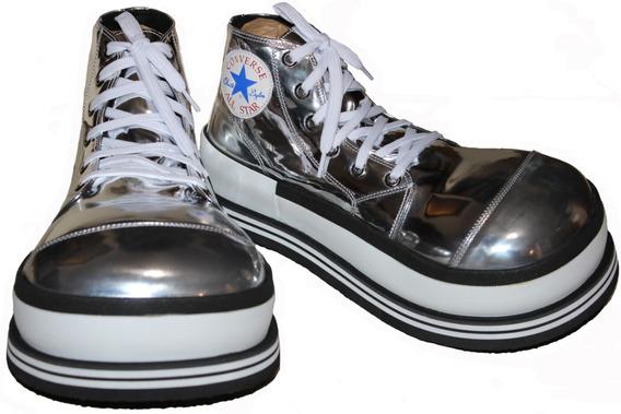 Zapato Payaso Profesionales En Color Plata