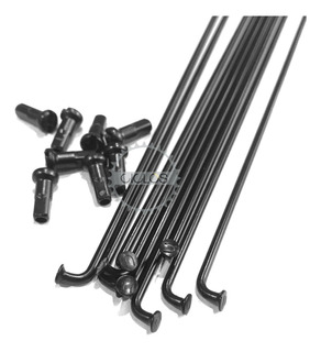 Rayos De Acero Negros 275mm X 2mm C/ Niples 36u - Ciclos