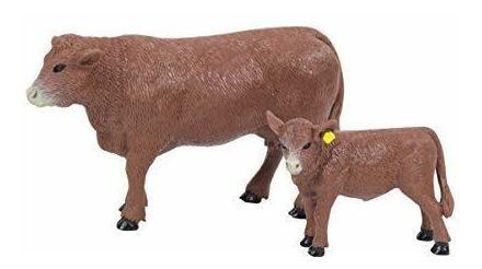 120rojo Angus Vaca Y Ternero Por Las Grandes País Juguetes