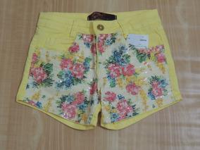Shorts Consciencia Jeans Amarelo Paete Floral