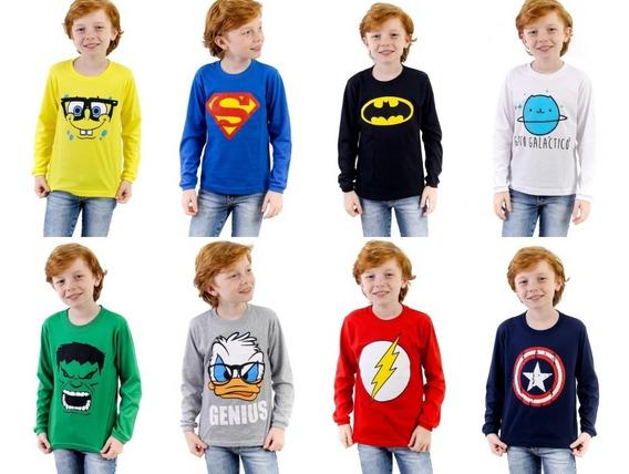 Kit 06 Camisetas Infantil + Brinde 2 Adesivos Personagens