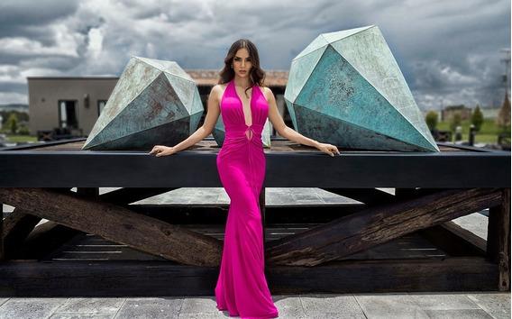 Elegante Vestido De Gala Color Bugambilia