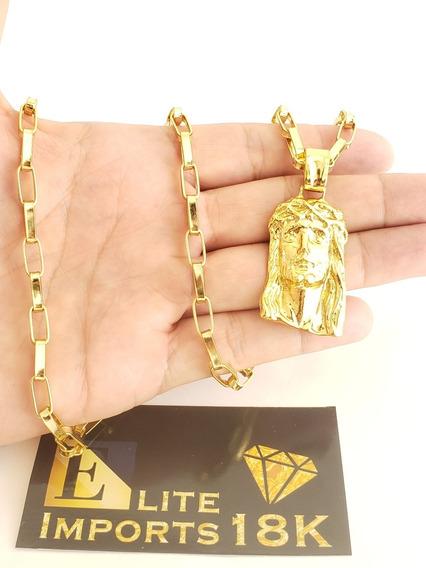 Cordão 6mm Tijolinho + Pingente Banhado A Ouro 18k Luxo