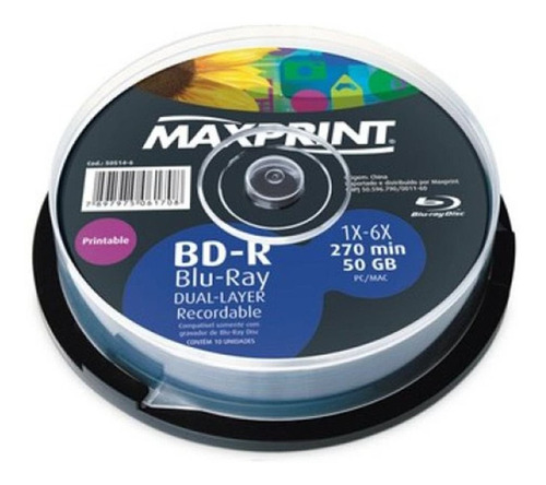 20 Un Blu Ray 50 Gb Maxprint Printable (frete Grátis)