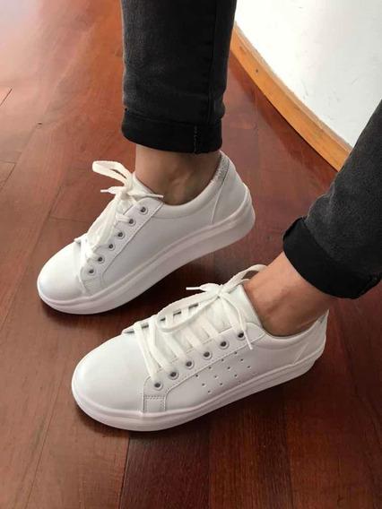 Zapatillas Sneakers Blancas Con Un Toque De Glitter Nuevas