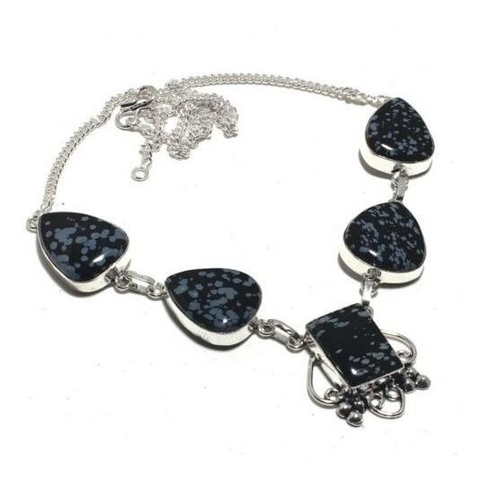 Colar Snowflake Obsidian 925 Prata Pedras