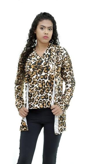 Conjunto Cardigan E Blusa T-shirt Oncinha Moda Feminina