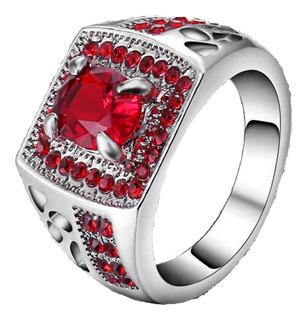 Anel Formatura Masculino Feminino Rubi Vermelho 715 F
