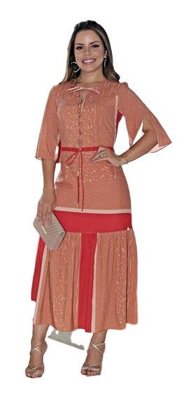 Kauly 2666 Vestido Crepe Leve De Seda Estampada Color Block