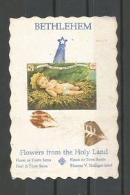 Cartão Religioso,folha/menino Jesus,usado.