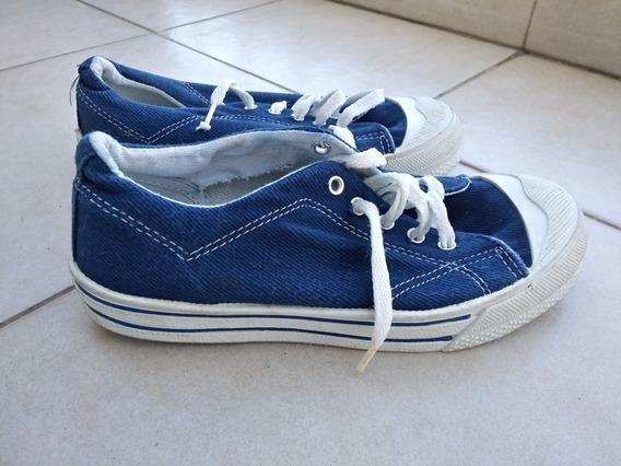 Zapatillas Niños Cheeky 34 Azules Blancas Lona Goma