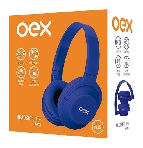 Fone Ouvido Headset Flow Hs207 Oex Azul