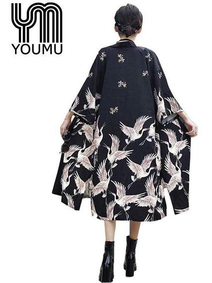 Mujer Kimono Japonés Abrigo Outwear Largo Albornoz