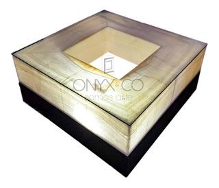 Mesa Centro Sala Madera Onix Cristal Minimalista Moderno