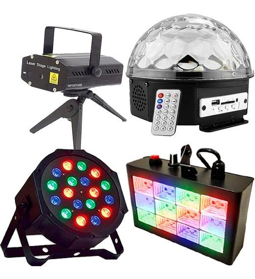 Kit Iluminação Para Festa Dj Globo De Luz Laser Led Par Rgb