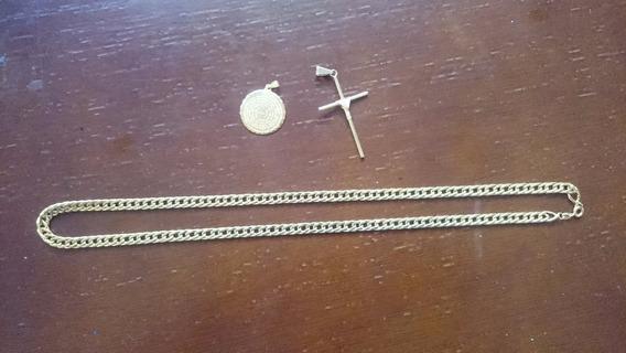 Corrente Folheada A Ouro 50cm Com 2 Pingentes