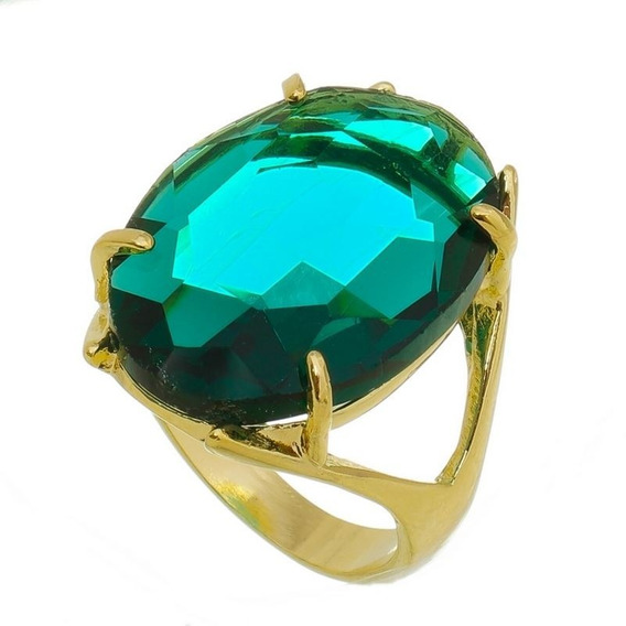 Anel Cravejado Cristal Esmeralda 15 Microns Ouro 18k Lindo