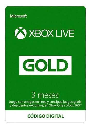 Imagen 1 de 1 de Xbox Live Gold 3 Meses Codigo Entrega Inmediata
