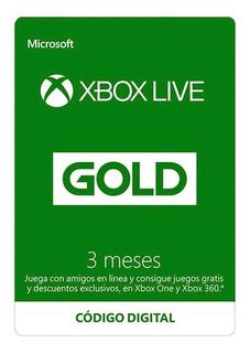 Xbox Live Gold 3 Meses Codigo Entrega Inmediata