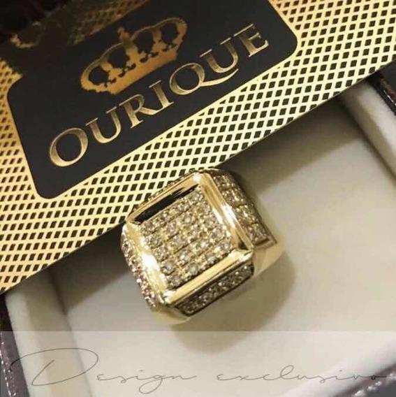Anel Ouro 18k Com 44 Diamantes Forrado