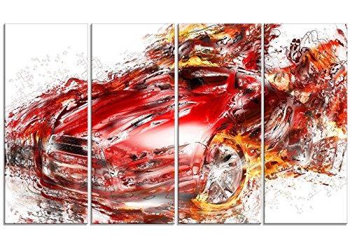 Arte Digital Pt2601688,3cm Llamas Rojo Super Car Lienzo