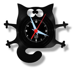 Gato Pet Relógio Parede Vinil Disco Retro Decor Lp Cat Arte