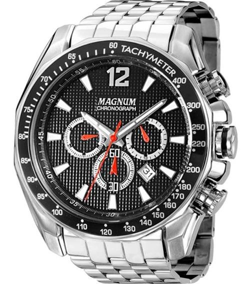 Relógio Magnum Masculino Prata E Preto Original Nfe Ma33586t