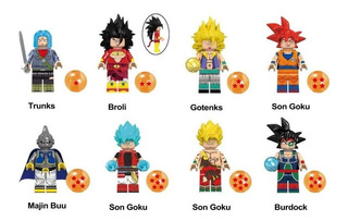 Coleção Dragon Ball Z - 8 Minifigures - Trunks, Son Goku