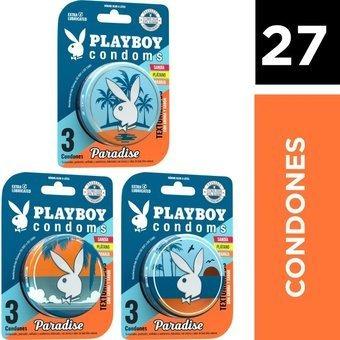 27 Condones Paradise Lubricados 9 Latas De 3 Playboy Condoms