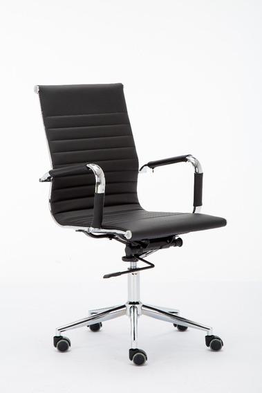 Cadeira Presidente Giratória Charles Eames Preta Esteirinha