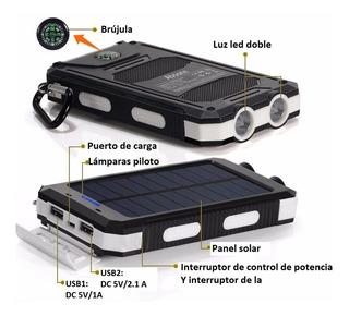 Batería Solar Camping Banco Celular Lampara Usb Brujula