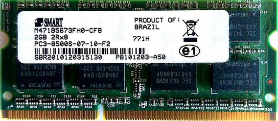 Memoria Notebook Smart Ddr3 2gb Pc3-8500s-07-10-f2 2rx8