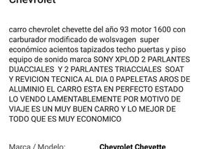 Chevrolet Chevrolet Chevette Motor 1600